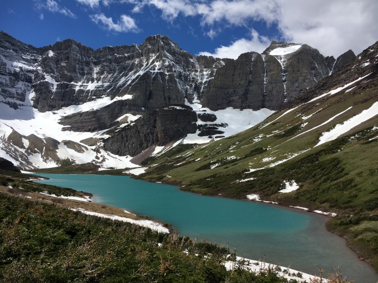 Cracker Lake in Glacier National Park, which we hiked to from Many Glacier Lodge. It's about 6 miles one way, and the trail passes another lake and crosses a stream a couple times before delivering you to this beauty. The lakes are this color when they are fed by glaciers...